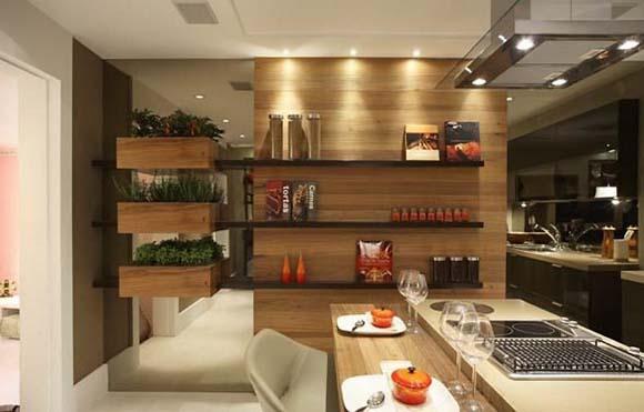 Horta removível em cozinha