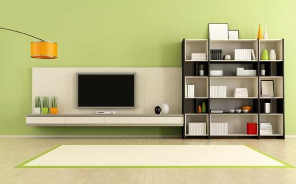 Em uma sala grande, é possível ter um bom rack com nichos diferentes
