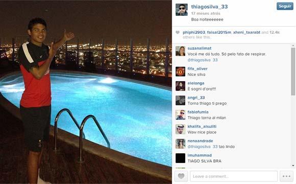 Thiago Silva exibe sua bela piscina, ao ar livre, em seu imóvel de Paris, na França (Fotos: Reprodução/Instagram)