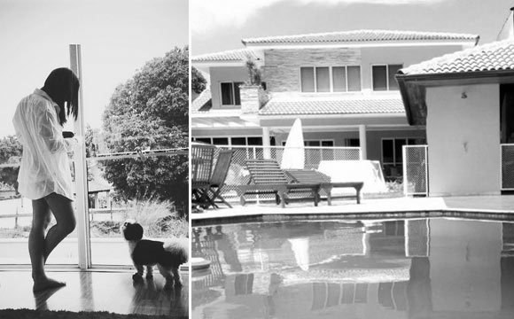 Cantora Anitta em momento de descanso em sua mansão. Ao lado, exemplo de uma mansão do condomínio Mara Mar (Fotos: Reprodução - Instagram/ Vazlon)