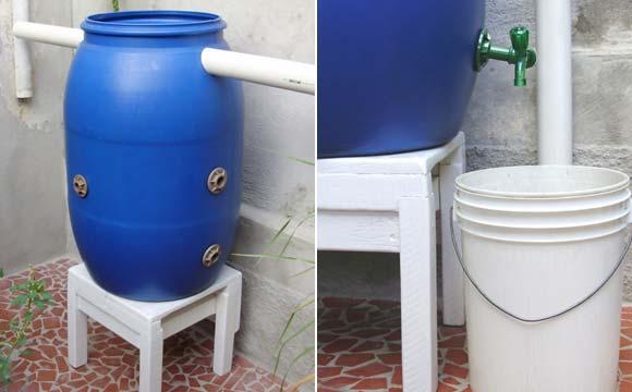 Mini cisterna com tubos instalados  no tambor e torneira para a utilização da água