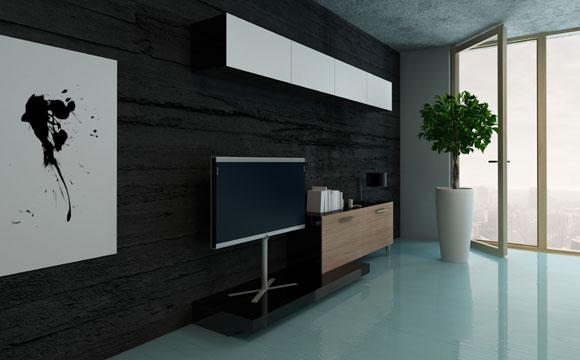 Televisão sobre móveis como rack ou cômoda que não são feitos para a sala também não fica bom