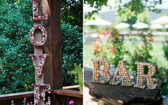 rolhas na decoração com letras