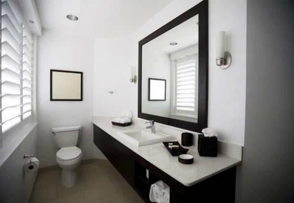 decoracao banheiro pequeno preto e branco : decoracao banheiro pequeno preto e branco:Decoração de Banheiro Pequeno – dicas de decoração de banheiro