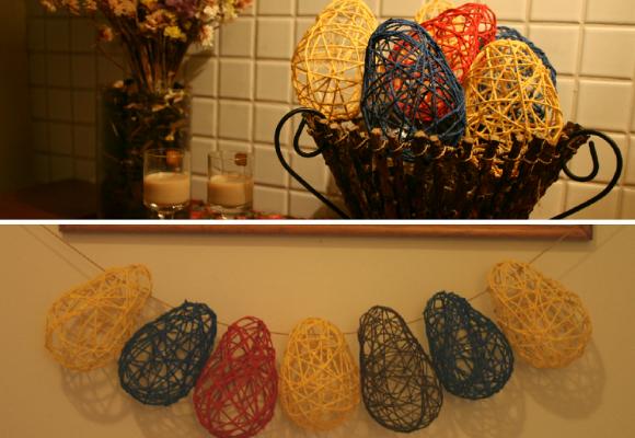 decoração de páscoa com ovinhos de corda