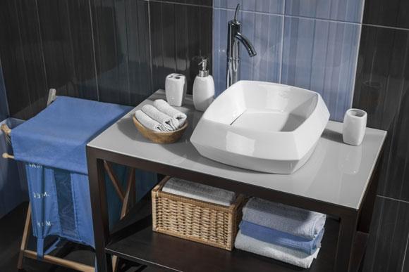 decoracao azul no banheiro