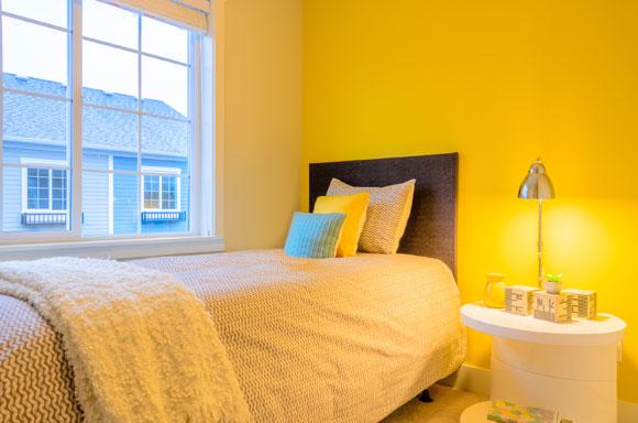 decoração amarela no quarto