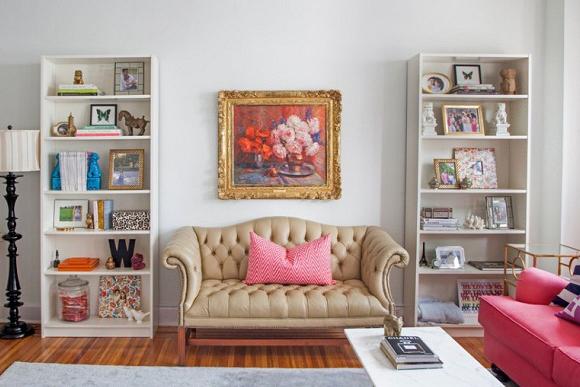 Sofá decorado com botões dão charme à decoração (Fotos: Casa de Valentina)