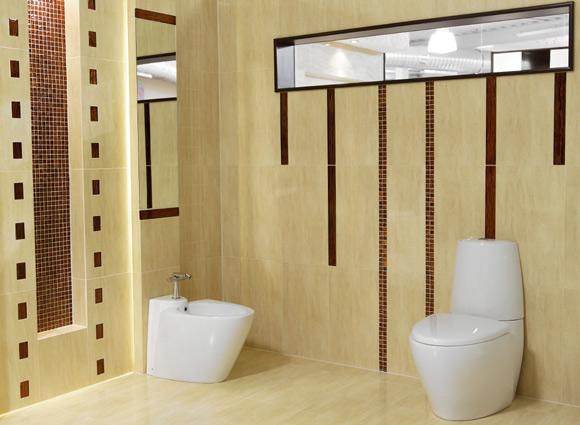 Decoração de banheiros  Como Deixar o Visual Moderno -> Banheiros Com Pastilhas Em Volta Do Espelho