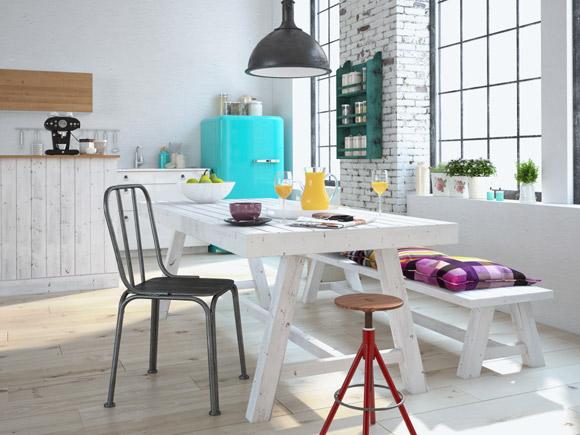 Cadeiras diferentes compõem a mesa no espaço das refeições. Ageladeira, em tom turquesa e no estilo retrô, é a peça que chama atenção deste ambiente (Foto: Shutterstock)