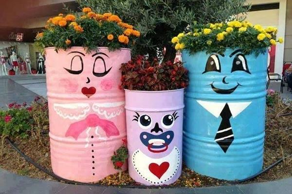 Tambor pode virar um vaso de plantas (Foto: Reprodução/Pinterest)