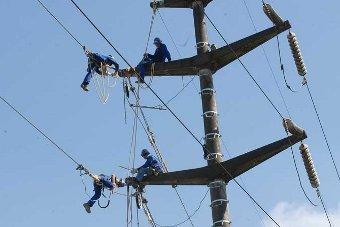 Operários da Celesc trabalham na rede elétrica de Joinville, em Santa Catarina
