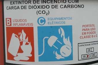 Extintor de gás carbônico é indicado para fogos classe B e C